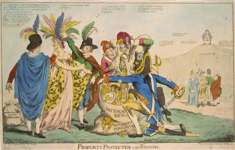Jean-Conrad Hottinger depicted in a cartoon describing the XYZ Affair, 1797