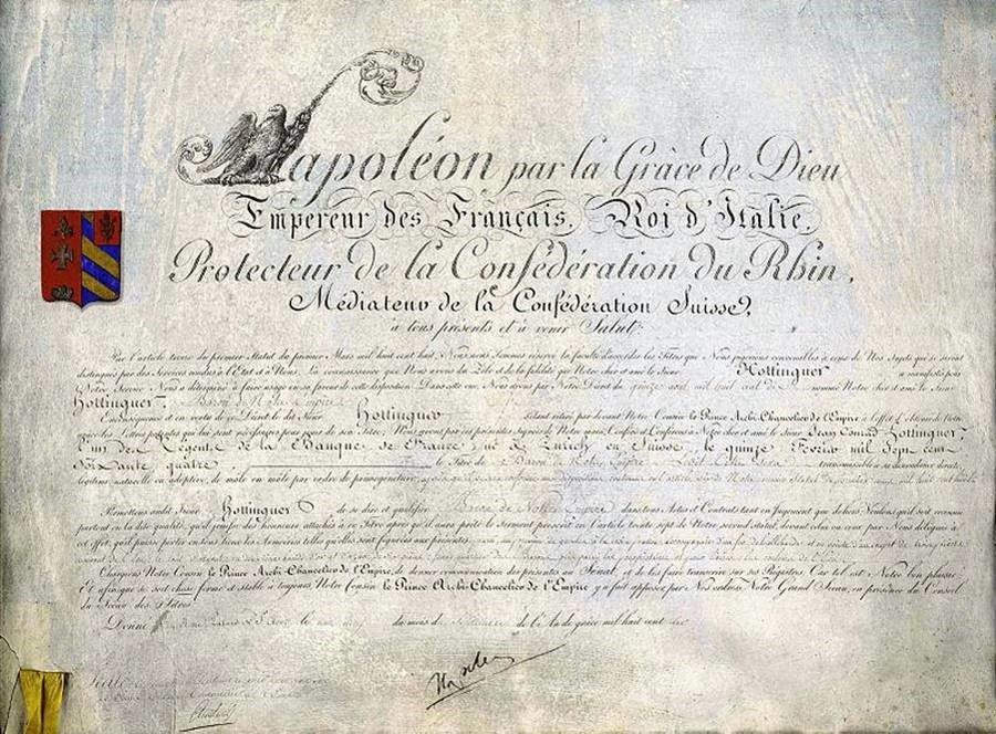 Certificate signed by Emperor Napoleon awarding Jean-Conrad Hottinger the baronetcy, 1810